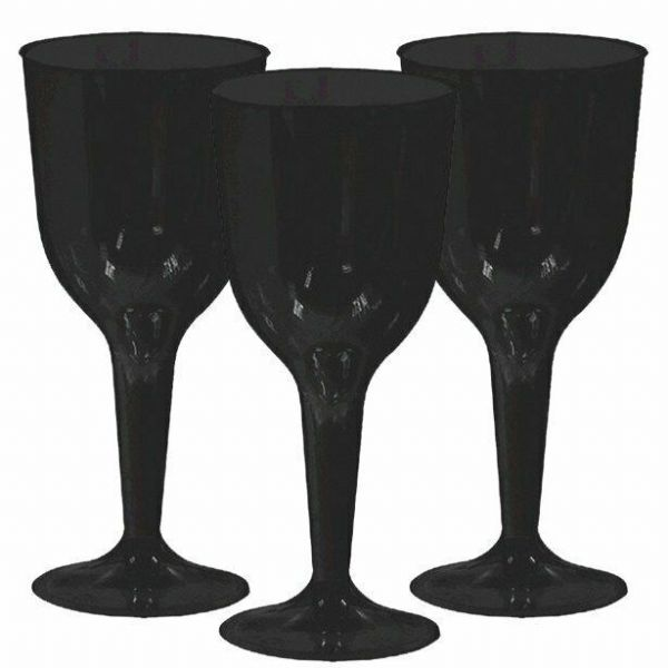 Halloween Black Plastic Wine Glasses 20 pk